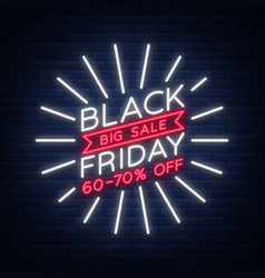 Black friday sale neon sign neon banner vector