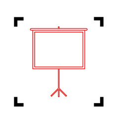 Blank projection screen red icon inside vector