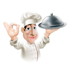 cartoon chef with serving tray vector image