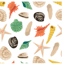 cartoon sea shells pattern or background vector image