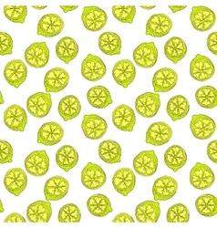 Cartoon yellow lemon fruit with contour seamless vector image