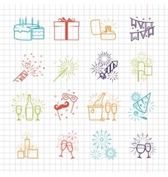 Celebration line icons with drinks garland and vector image
