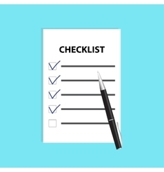 Checklist with pen isolated flat vector