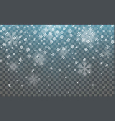 christmas snow falling snowflakes on dark vector image