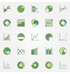 Colorful business graphs icons vector