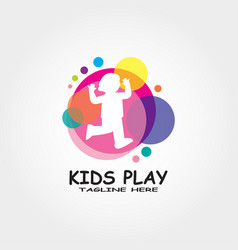 Colorful child play logo design vector