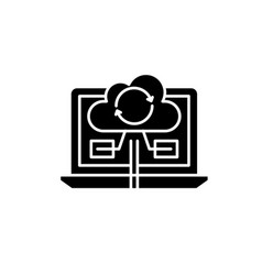 content synchronization black icon sign on vector image