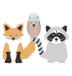 cute animals group bohemian style vector image