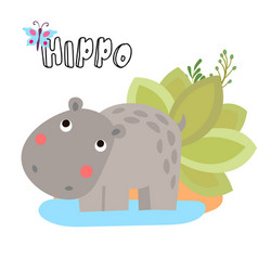 Cute cartoon hippo for vector