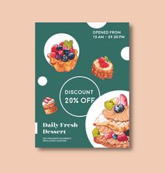 Dessert poster design meringue shortcake vector