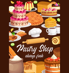 Desserts and sweet pastry shop vector
