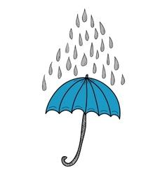 Doodle umbrella and raindrops vector