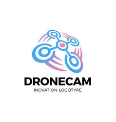 drone logo drone with photo camera design vector image