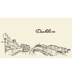 Dublin skyline hand drawn sketch vector