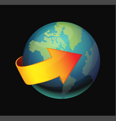earth and red arrow vector image