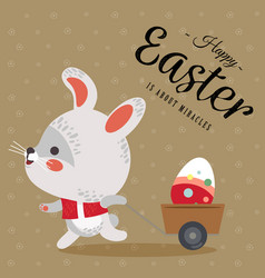 Easter bunny pulls a cart with cute white rabbit vector