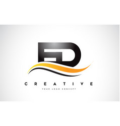 Ed e d swoosh letter logo design with modern vector