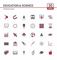 educational and science icons red vector image