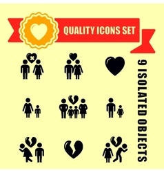 family concept quality icon set vector image