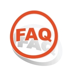 FAQ sign sticker orange vector