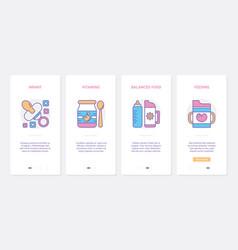 feeding baux ui mobile app page screen set vector image