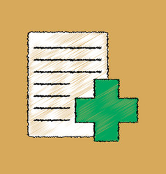 Flat shading style icon medical form with a cross vector