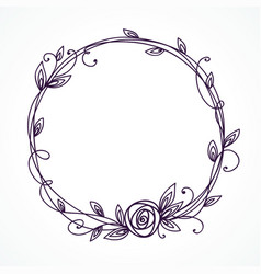 floral frame wreath with stylized rose vector image