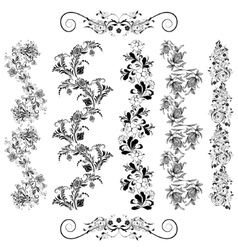 Floral patterns in black vector