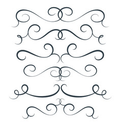 flourish set scroll collection curl vector image