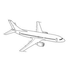 Flying passenger plane on a white background vector
