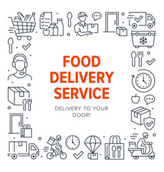 food delivery poster frame with line icons vector image