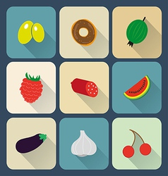 Food flat icons vector image