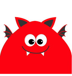 Funny monster head with big eyes fang tooth vector