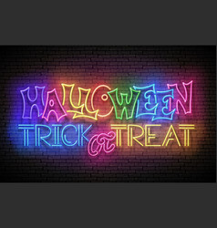 glow greeting card with halloween trick or treat vector image