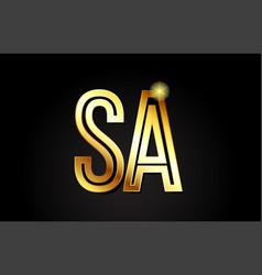 Gold alphabet letter sa s a logo combination icon vector