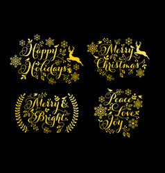gold christmas ornaments for cards set vector image