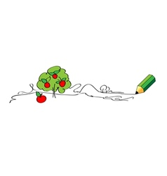 Green pencil drawing apple tree vector
