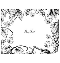 Hand drawing frame of assyrtiko grapes and elongat vector
