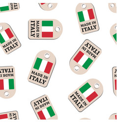 hang tag made in italy with flag seamless pattern vector image