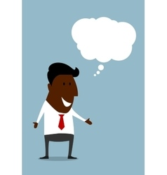 Happy black businessman with speech bubble vector image