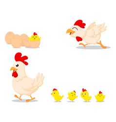 Happy cartoon chicken family vector