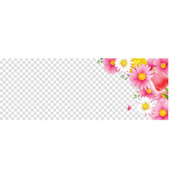 hello spring flower frame with transparent vector image