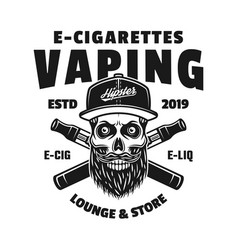 hipster skull in cap and two e-cigarettes vector image