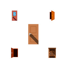 icon flat approach set of frame door exit and vector image