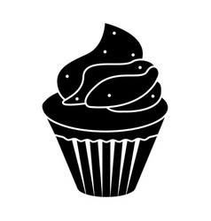 isolated cupcake silhouette icon vector image