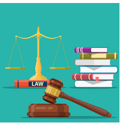 justice scales and wooden judge gavel vector image