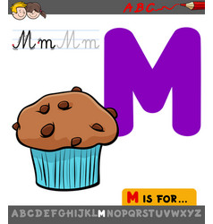letter m with cartoon muffin sweet cake vector image