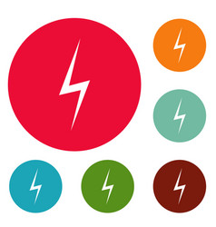 Lightning icons circle set vector