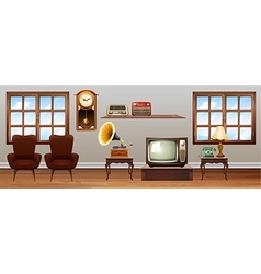 Living room full of vintage furniture vector