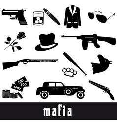 mafia criminal black symbols and icons set eps10 vector image vector image